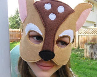 Deer Mask - Fawn Mask - Woodland - Forest Animal - Deer Costume Accessory - Dress Up - Halloween
