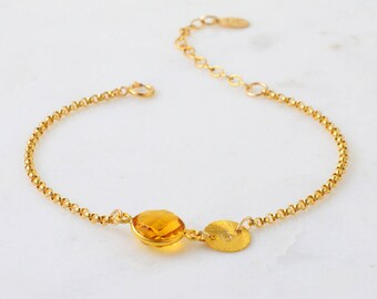 Birthstone Bracelet - Citrine Bracelet - Bridesmaid Bracelet - Personalized Bracelet - Gemstone Bracelet - Minimalist Bracelet