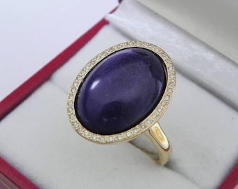 AAAA Sugilite 18x13mm  8.49 Carats   14K Yellow gold Diamond halo cabochon ring. 1508