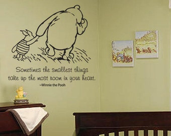 Classic Winnie the Pooh and Piglet Sometimes the smallest thing large size baby quote vinyl wall decal