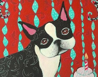 Boston Terrier Art  Dog Art Print  Dog Art Canvas Boston Terrier Wall Decor Dog Home Decor  wall art Giclee Canvas