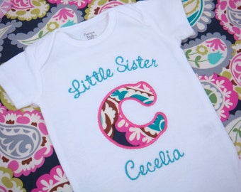 Little Sister Shirt - Sisters Shirt - Big Sister Little Sister - Initial Sibling Shirt