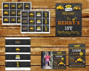 Construction Birthday Party Package   Construction Chalkboard Invitation   Construction Party   Dump Truck   Party Decorations