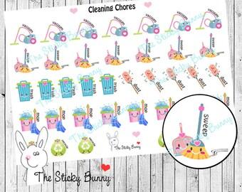 Cleaning Chores - Planner Stickers for Erin Condren, Happy Planner, Kikkik, Filofax (S014)