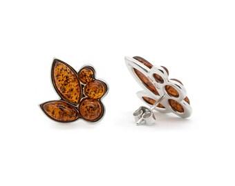 Amber Flower Earrings - Flower Stud Earrings - Flower Earrings - Silver Flower Earrings - Amber Earrings - Statement Earrings -443E1