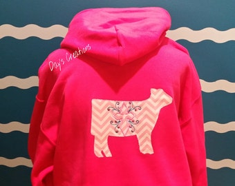 Show Cow Hooded Sweatshirt - Show Heifer Embroidered hoodie sweatshirt - Cross monogrammed show heifer sweatshirt - Embroidered cross hoodie
