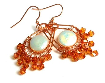 Autumn Moon Wire Wrapped Coin Pearl and Crystal earrings