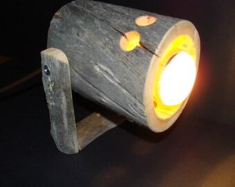 rustic spotlight from Kelo wood - woodlamp