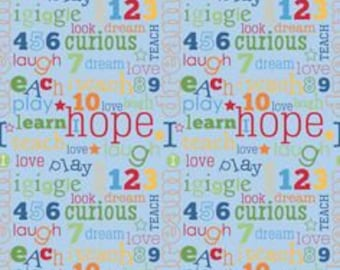 Pieces of Hope Riley Blake, Cotton Fabric by the Yard, Words of Hope Fabric, Quilting Fabric, Autism Awareness Fabric, Kids Fabric, C3062