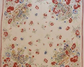 Vintage Handkerchief French Motifs