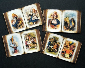 Four Alice in Wonderland BOOK STICKERS- 3 Sizes to choose from- Alice in Wonderland miniature books small books Alice in Wonderland the book