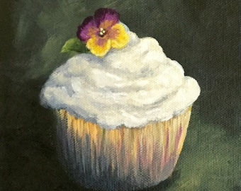 """Cupcake 011 6"""" x 6"""" Original Still Life Painting on Gallery Wrapped Canvas by Torrie Smiley"""