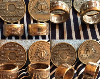 AA Alcoholics Anonymous Bronze Coin Rings