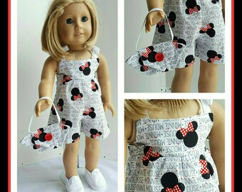 18 Inch American Handmade Mickey Mouse Rompers and a Purse Doll