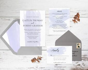 Dusty Blue Watercolor Brush Stroke Wedding Invitation Set // Digital or Printed //