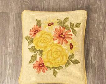 Floral Needlepoint Pillow, Vintage Pillow, Yellow Pink Decor, Yellow Roses Decor, Yellow Pink Pillow, Roses Needlepoint
