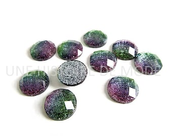 10 round resin cabochons glitter pink, blue and green - diameter 12mm - cabochon - rhinestones - cameo