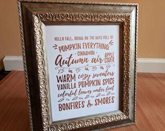 Hello Fall Home Decor, Gold Foil Typography Art Print, Wall Art, 5x7 8x10 11x14