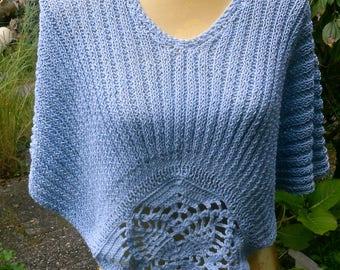 Poncho light-blue, shoulder warmer, Gr. 36-38 (s), US 8-10, UK 10-12