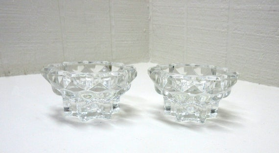 Vintage Reims French Glass Tea Light / Candle Holders Set of 2