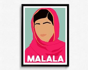 Malala Yousafzai Feminist Icon Poster, Minimalist Print