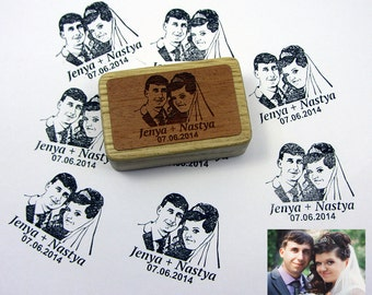 Wedding Stamp Favors For Guest Custom Portraits Tattoo  Personalized Gift Couple Save The Date Bachelorette Engagement Gift Rubber Stamp