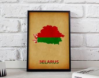 Belarus poster Belarus art Belarus Map poster Belarus print wall art Belarus wall decor Gift poster