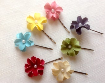 Small Floral Hair Pins 2 Flower Hair Pins Wedding Hair Pin Prom Hair Pin - Set of 2