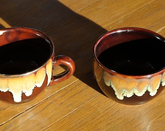 A Pair of Two Vintage Brown, Tan and Cream Drip Glazed 6 Ounce Espresso Cups - Coffee Mugs - Tea Cups