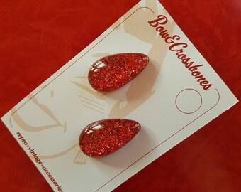 Lisa Marie teardrop earrings - Red