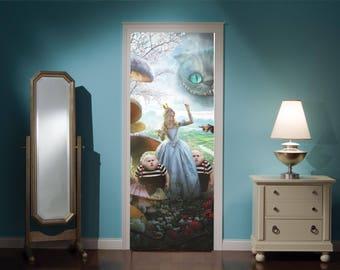 Door Mural Alice In Wonderland Mad Hatters Tea Party View Effect Decal Mural Home Decor Window Sticker Home Living Vinyl Bedroom Lounge 302