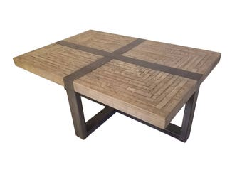 READY TO SHIP Wood and Metal Coffee Table