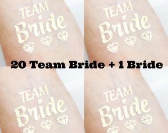 Set of 20 Bachelorette Party Favor - Bachelorette Tattoo Gold - Team Bride Metallic Gold Tattoo - Gold Diamond Tattoo