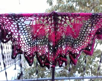 Danya Lacy handmade crochet shawl ladies wrap ombre cranberry black
