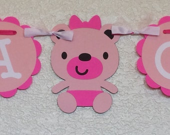 It's A Girl Banner, Baby Shower Banner, Girl Baby Shower, Teddy Bear Baby Shower,hot pink and light pink baby shower