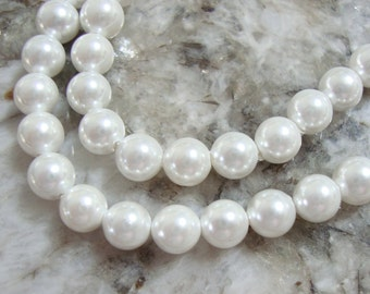 White South Sea Shell Pearl - 3.5mm Round Bead - 1 full strand - 88 beads