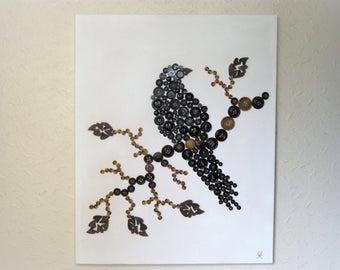 Crow Button Art on Canvas