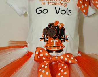 Tennessee, Orange, white, Tennessee Volunteers, Volunteers, cheerleader, houndog, baby tutu, bodysuit, baby shower gift, new baby gift, Vols