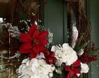 Rustic Holiday Wreath in Reds and Whites