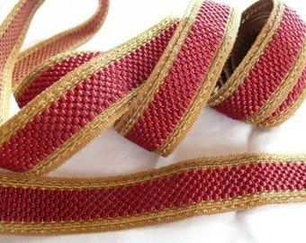 Metallic Gold and Red Trim Antique Sewing, Ecclesiastical Braid