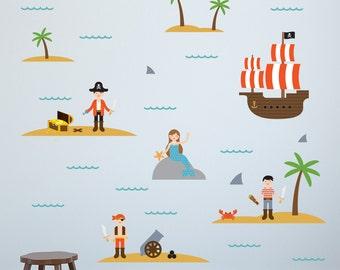 Pirates Wall Decal, Pirates Decal, Pirates Wall Sticker, Pirate Theme Decor, Pirate Wall Decal, Pirate Ship Wall Decal, Pirate Ship Decal