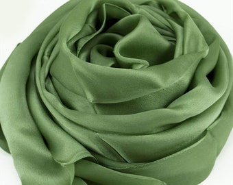 Olive Drab Silk Scarf - Sea Green Silk Scarf - Silk Georgette Satin Scarf - AS252