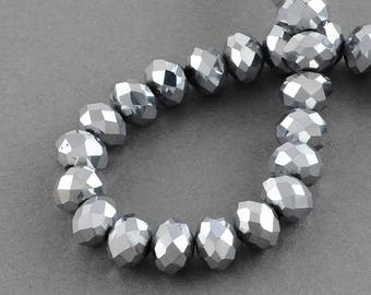 150 pcs Rondelle  FACETED GLASS CRYSTAL Beads 4mm x 3mm Jewellery Making Metallic Silver