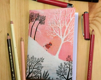 Small illustrated notebook - Little Red Riding Hood in the Snow - pattern 2