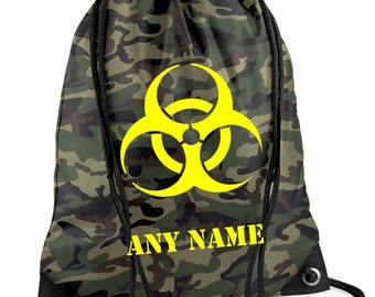 Personalised BIOHAZARD Camouflage/Army/PE/Swim Duffle/Drawstring Bag - *Choice of colours*