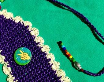 PEACE, Hippie, Bookmarker, Purple color, cream edging, hand crocheted, beaded, RedRobinArt