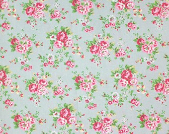 cotton fabric, flowers, English roses, retro