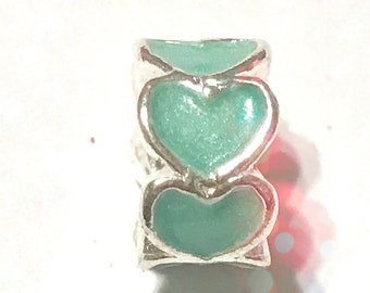 Turquoise Heart Spacer Big Hole Bead Charm