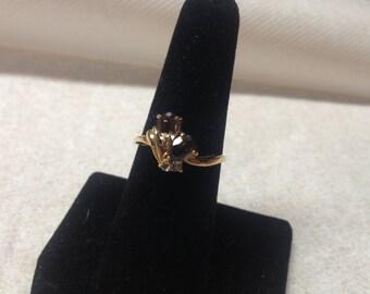 Vintage Goldtone and Brown Gemstone Design Ring, Size 7