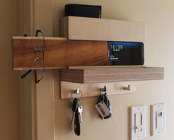 Entryway Organizer Charging Station Mail Storage Key Hooks